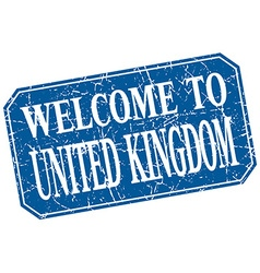 Welcome to united kingdom blue square grunge stamp vector