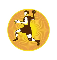 Handball player jumping throwing ball scoring vector