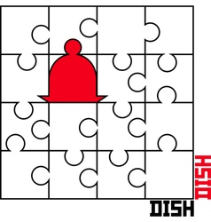Puzzle with a dish vector