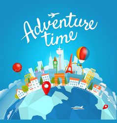 Adventure time travel concept with lettering logo vector