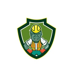 Angry gorilla construction worker shield cartoon vector