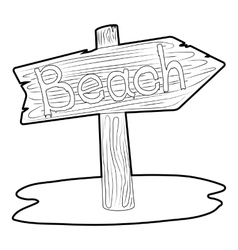 Beach wooden direction sign icon vector