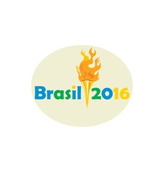 Brasil 2016 summer games flaming torch vector