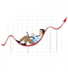 businessman lying and working vector image
