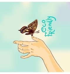 butterfly sketch eco friendly vector image vector image