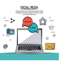 colorful poster of social media with laptop vector image vector image