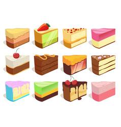 cream cake slices pieces set vector image