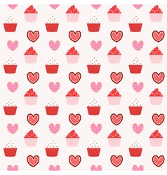 cupcake seamless pattern background vector image