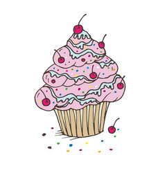 doodle cupcake with cream and cherry vector image