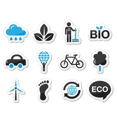 Ecology green recycling icons set vector image vector image