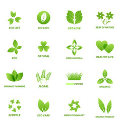 ecology icon set on white background vector image vector image