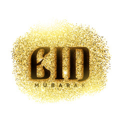 Eid mubarak greeting card with golden sparkle vector