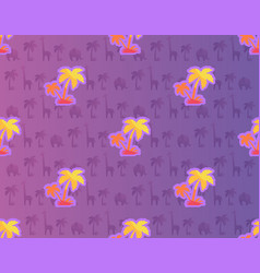 exotic palm trees with african plants and animals vector image