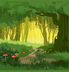 Fabulous bright green summer magical forest vector