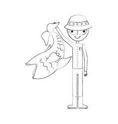 Fisherman with big fish avatar character vector