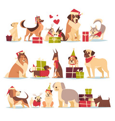Group of cute dogs in santa hats symbol of 2018 vector