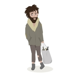 Homeless bearded man in dirty rags vector