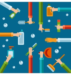 human hands using cleaning products flat icons vector image vector image