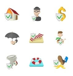 Insurance icons set cartoon style vector image