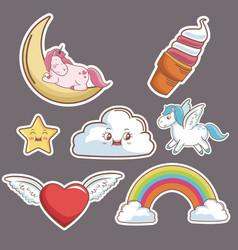 Kawaii cloud heart wings unicorn ice cream moon vector