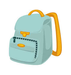 Light blue backpack with yellow slings isolated vector
