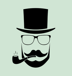 Man with glasses and a hat with a pipe a vector