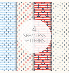 marine pattern set four navy seamless patterns vector image vector image