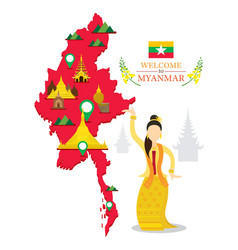Myanmar map and landmarks traditional dance vector
