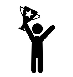 People Man with Winner Cup Flat Icons Pictogram vector image