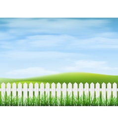 Rural landscape with grass and fence vector image vector image
