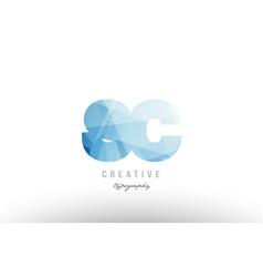 Sc s c blue polygonal alphabet letter logo icon vector