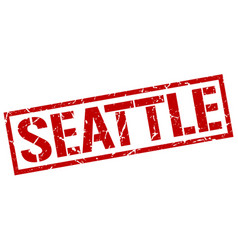 Seattle red square stamp vector