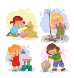 Set icons small girls playing with toys vector image