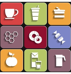 Set of flat food icons vector image