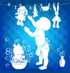 Silhouette baby wipes toys vector