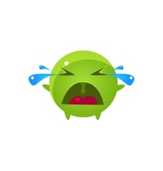 Tearful round character emoji vector