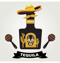 Tequila menu design Mexican drink vector image