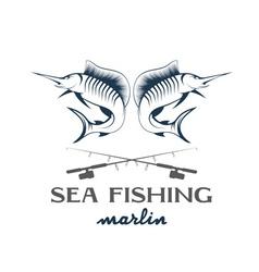 Vintage sea fishing with marlin vector