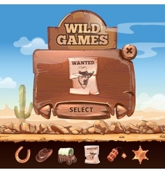 Wild West desert landscape background with user vector image vector image