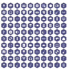 100 music festival icons hexagon purple vector