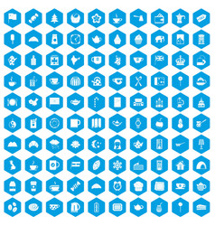 100 tea cup icons set blue vector