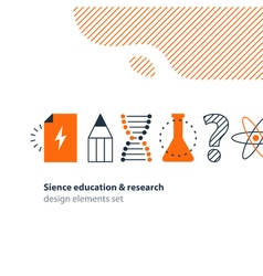 Scientific research science education icons set vector