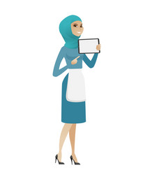 Young muslim cleaner holding tablet computer vector