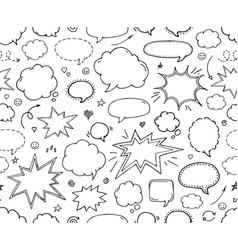 Seamless pattern hand drawn set of speech bubbles vector