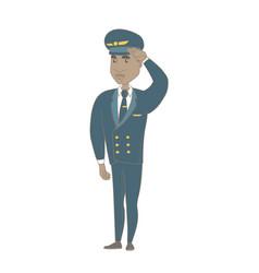Young african-american pilot saluting vector