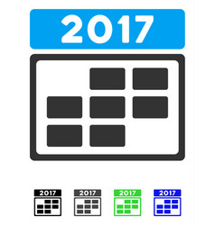 2017 calendar week grid flat icon vector