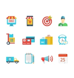 Set of flat purchase and delivery icons vector