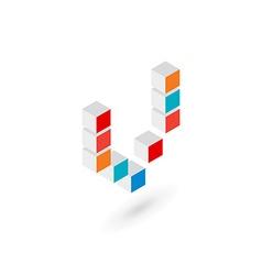 3d cube letter v logo icon design template vector