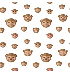 Flat cartoon monkey heads with different vector