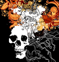 Skull with abstract design elements vector image